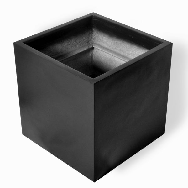 CUBE charcoal fiberglass planter